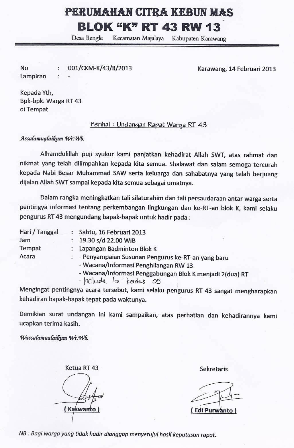 Contoh Surat Undangan Rapat Resmi Organisasi Contoh Surat
