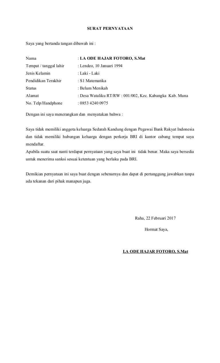 contoh surat pernyataan tidak ada hubungan dengan direksi