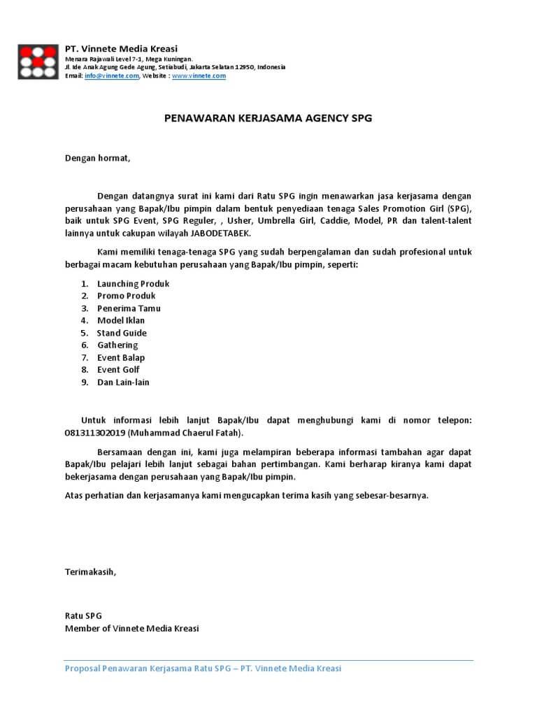 surat penawaran kerjasama event organizer