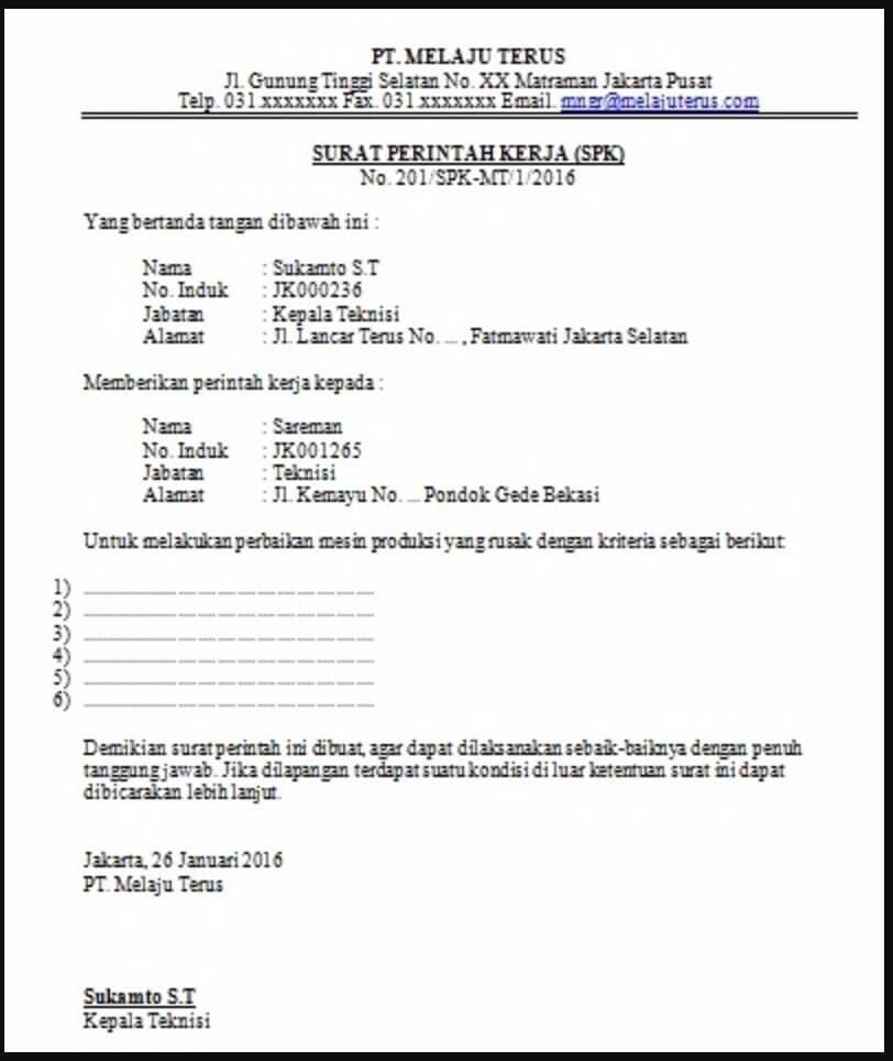 surat perintah kerja perusahaan