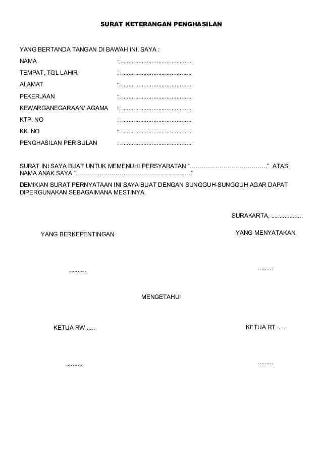 surat keterangan penghasilan wiraswasta dari rt