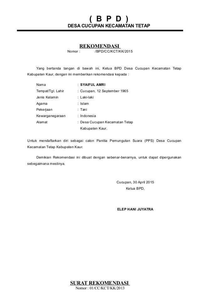 surat rekomendasi kerja doc