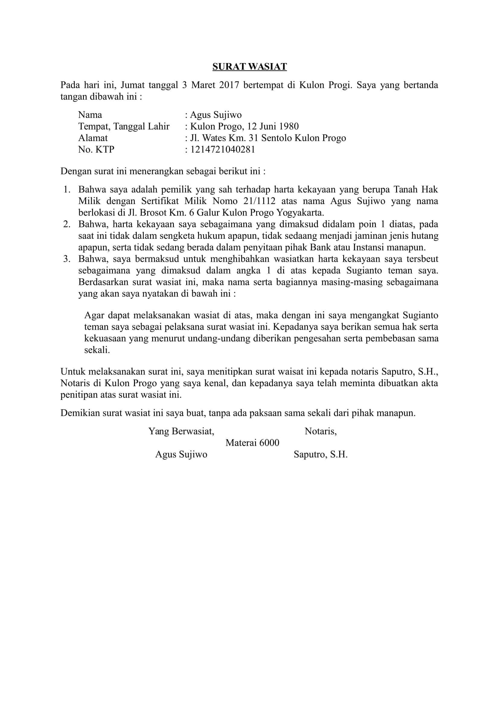 Contoh Surat Wasiat