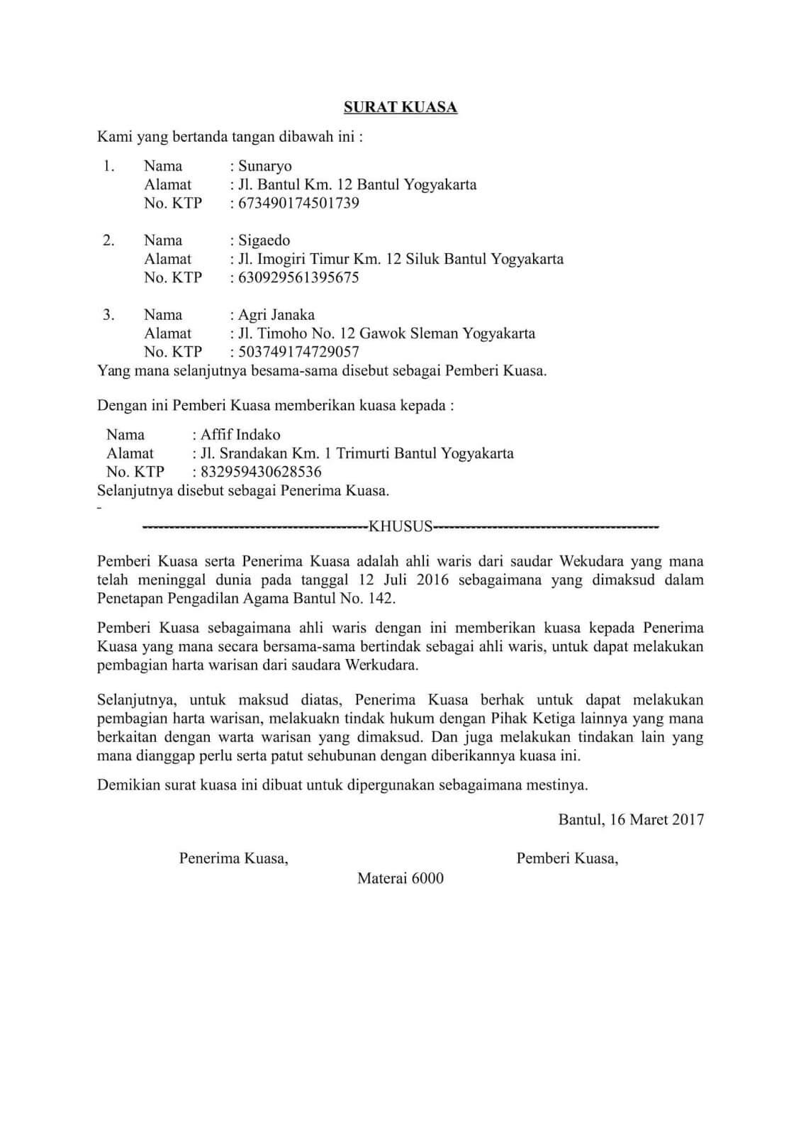 15 Contoh Surat Keterangan Ahli Waris Akta Waris Lengkap
