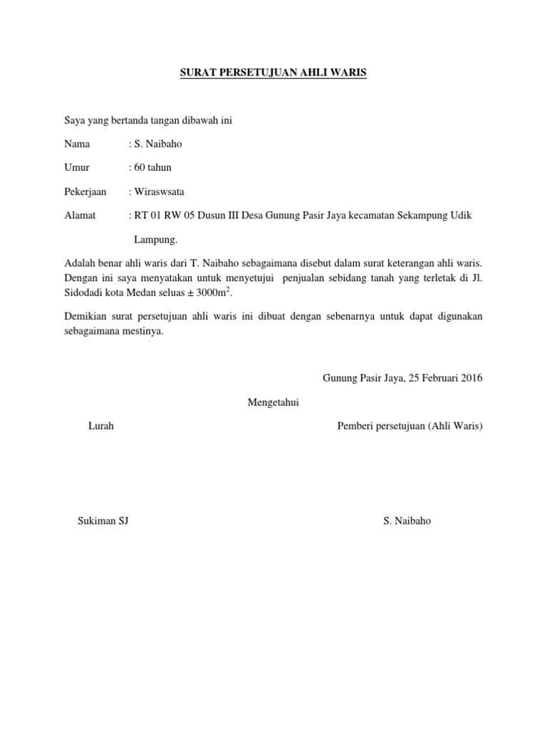 contoh surat persetujuan ahli waris