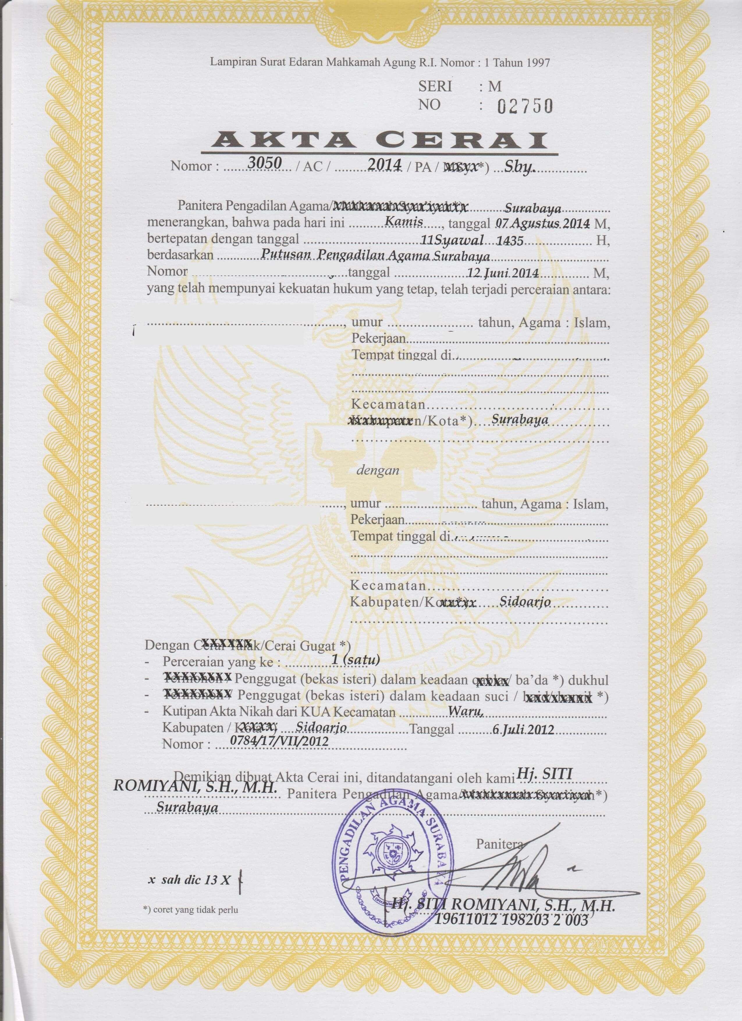 contoh surat cerai dari pengadilan agama