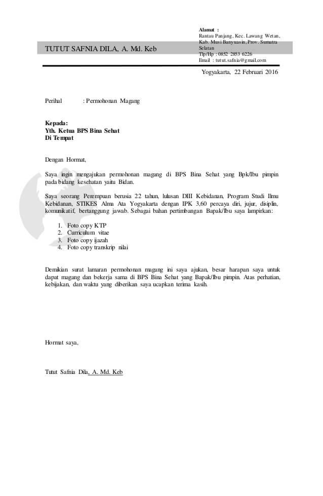 contoh surat magang pribadi