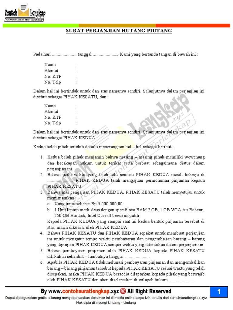Contoh Surat Perjanjian Hutang Piutang Pelunasannya Diatas Materai