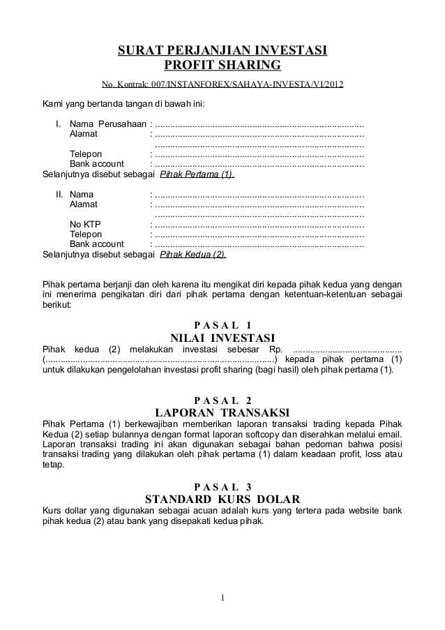 contoh surat perjanjian kerjasama investasi