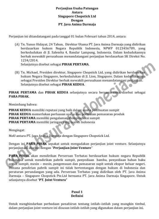 contoh surat perjanjian kerjasama perusahaan