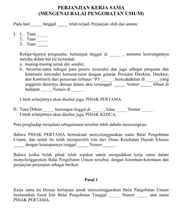 contoh surat perjanjian kerjasama usaha 3 orang