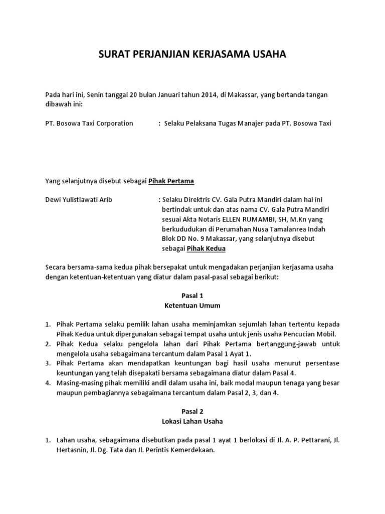 Contoh Surat Perjanjian Kerjasama Bagi Hasil Contoh Surat