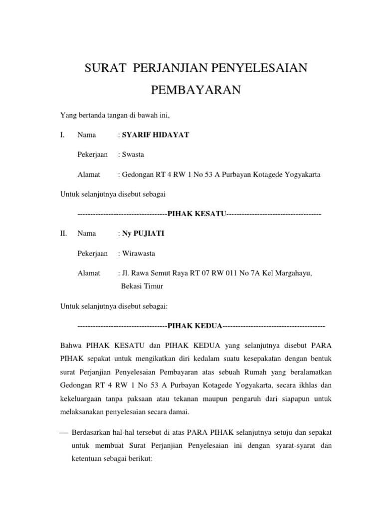 Contoh Surat Perjanjian Hutang Piutang & Pelunasannya ...