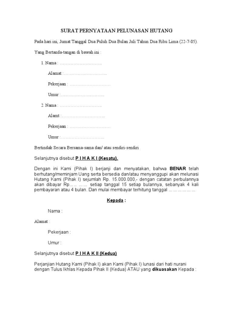 contoh surat perjanjian pembayaran hutang