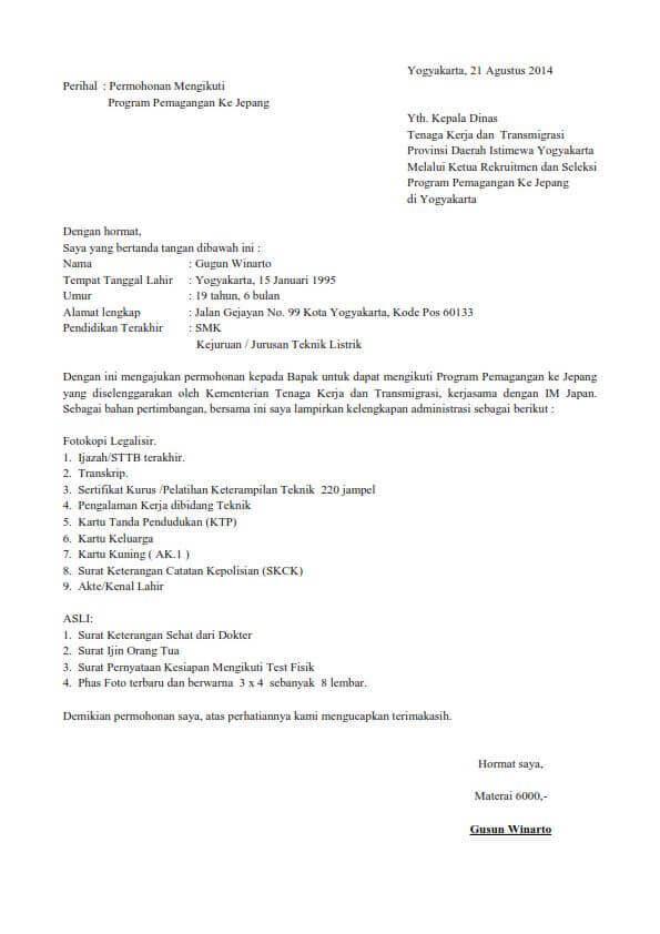 Contoh Surat Permohonan Magang Kerja Yang Baik Dan Benar Contoh Surat
