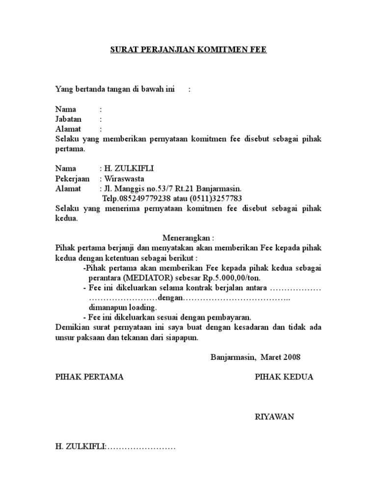 contoh perjanjian bagi hasil penjualan