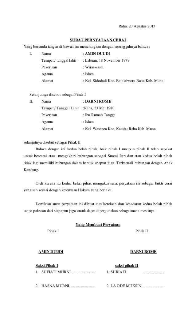 25+ Contoh Surat Pernyataan Cerai Paling Lengkap Yang Baik ...