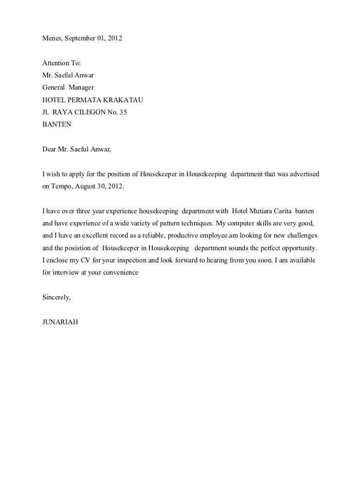Contoh Surat Lamaran Kerja Hotel Yang Benar Dan Terbaru 2019 Contoh Surat