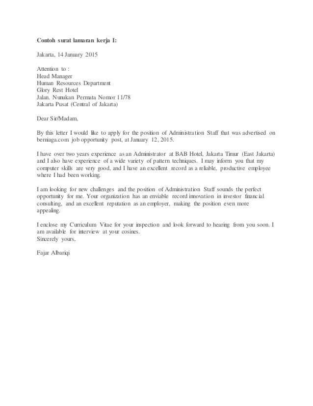 contoh surat lamaran kerja hotel housekeeping