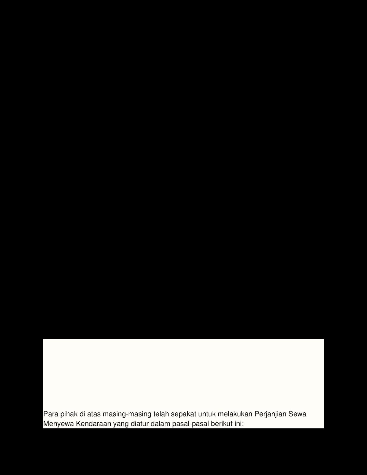 contoh surat perjanjian sewa menyewa mobil