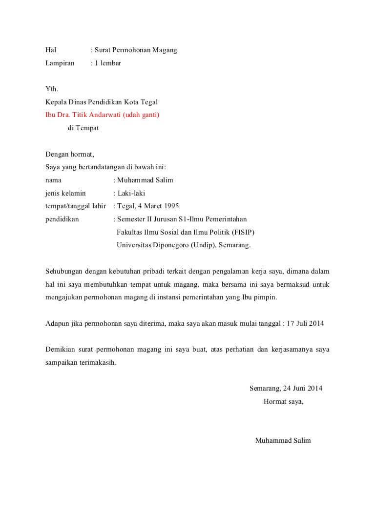 contoh surat permohonan magang pribadi