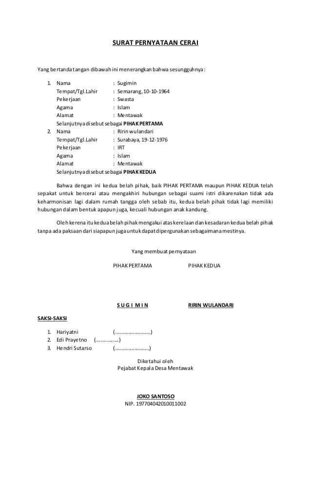 contoh surat pernyataan cerai dari rt