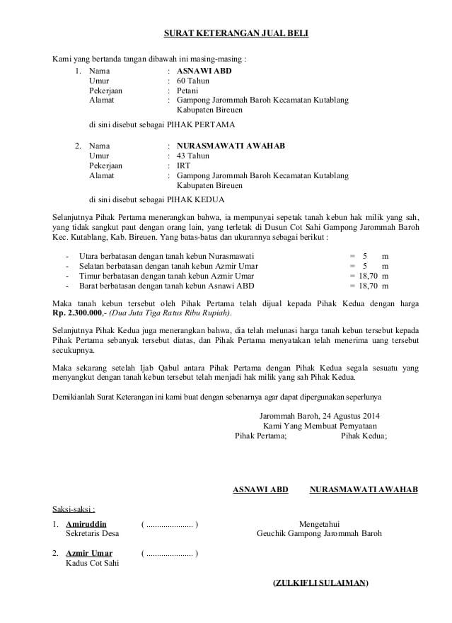 20+ Contoh Surat Perjanjian Jual Beli Tanah yang Baik dan ...
