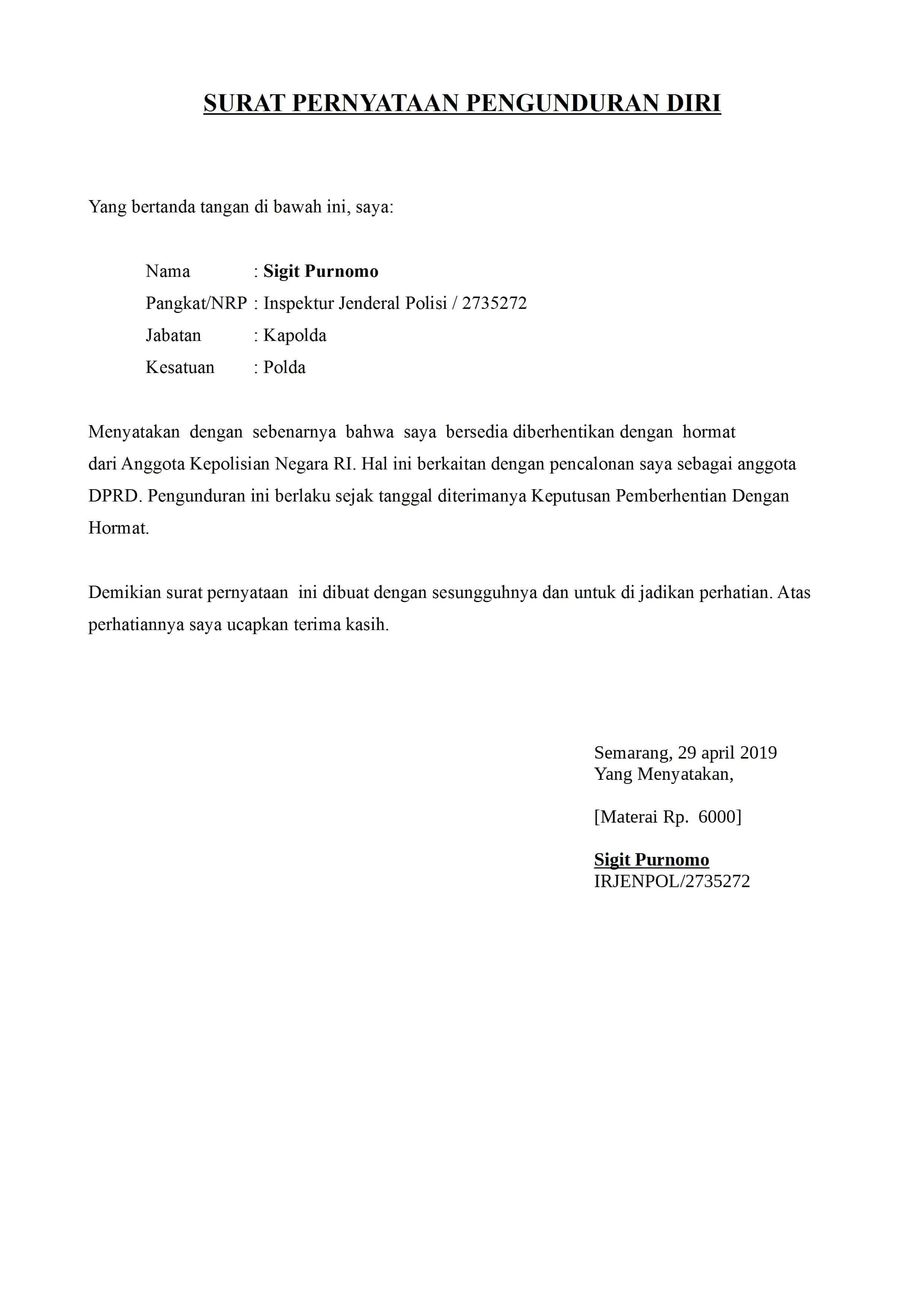 contoh surat pengunduran diri dari jabatan