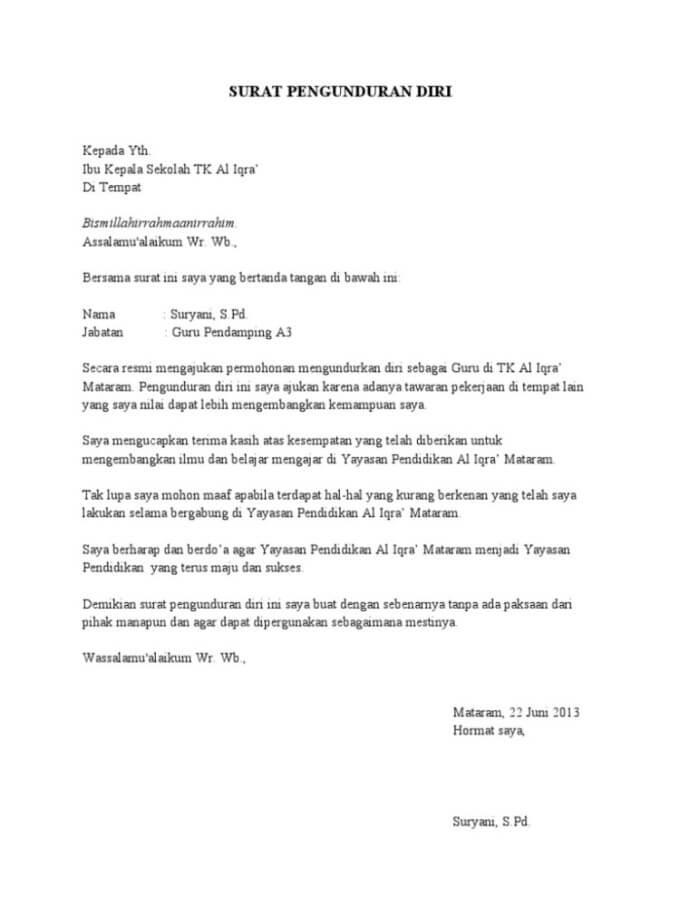 Contoh Surat Pengunduran Diri Kerja Yang Baik Dan Sopan Contoh Surat