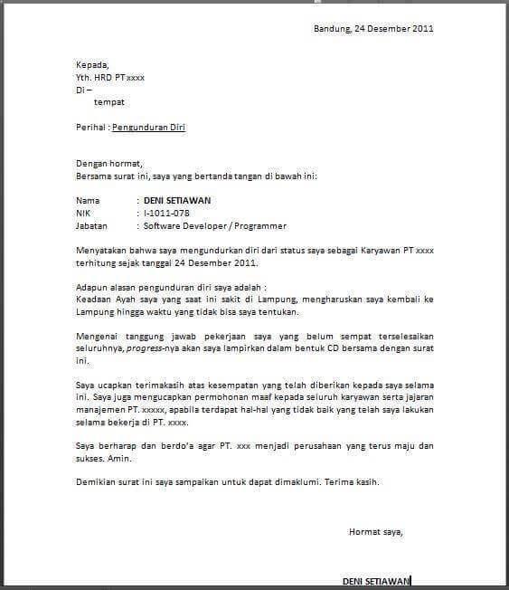 contoh surat pengunduran diri kerja dengan alasan