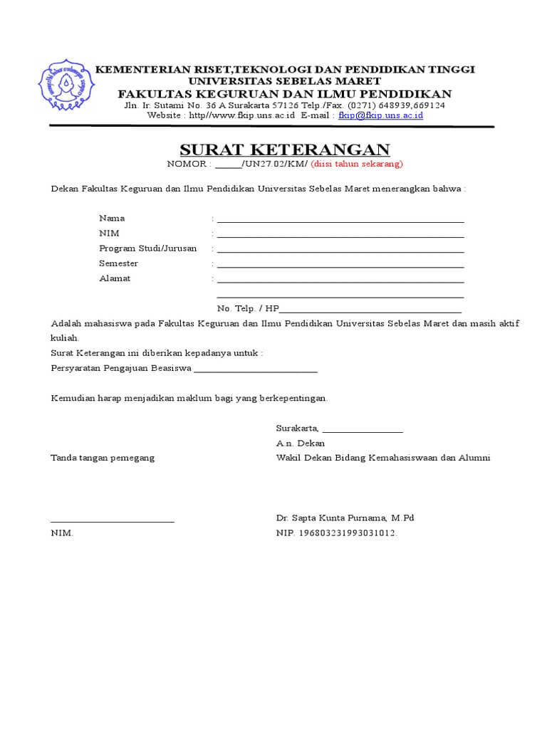 contoh surat pernyataan tidak menerima beasiswa uns