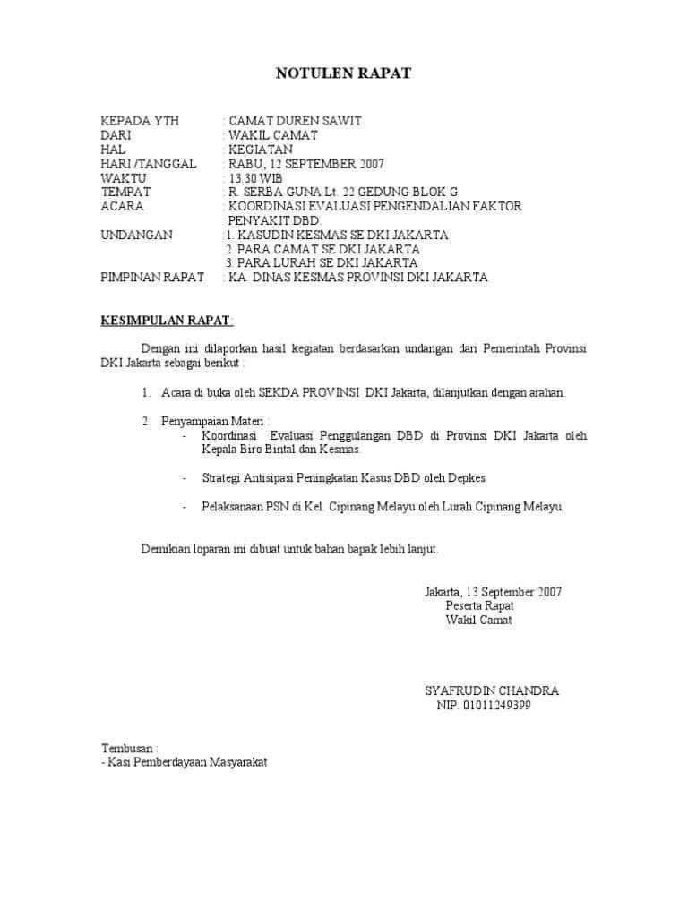 Contoh Notulen Rapat Kantor Pemerintah