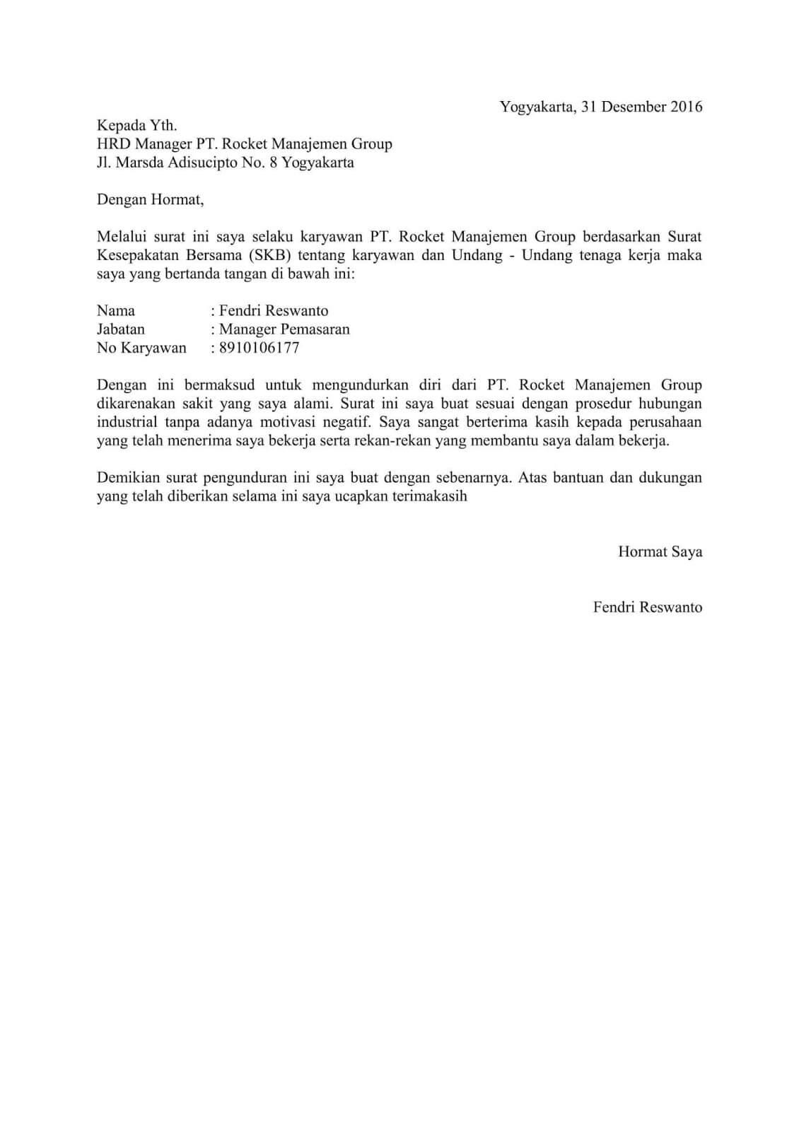 contoh surat pengunduran diri doc