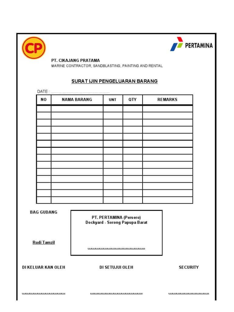 form izin keluar barang