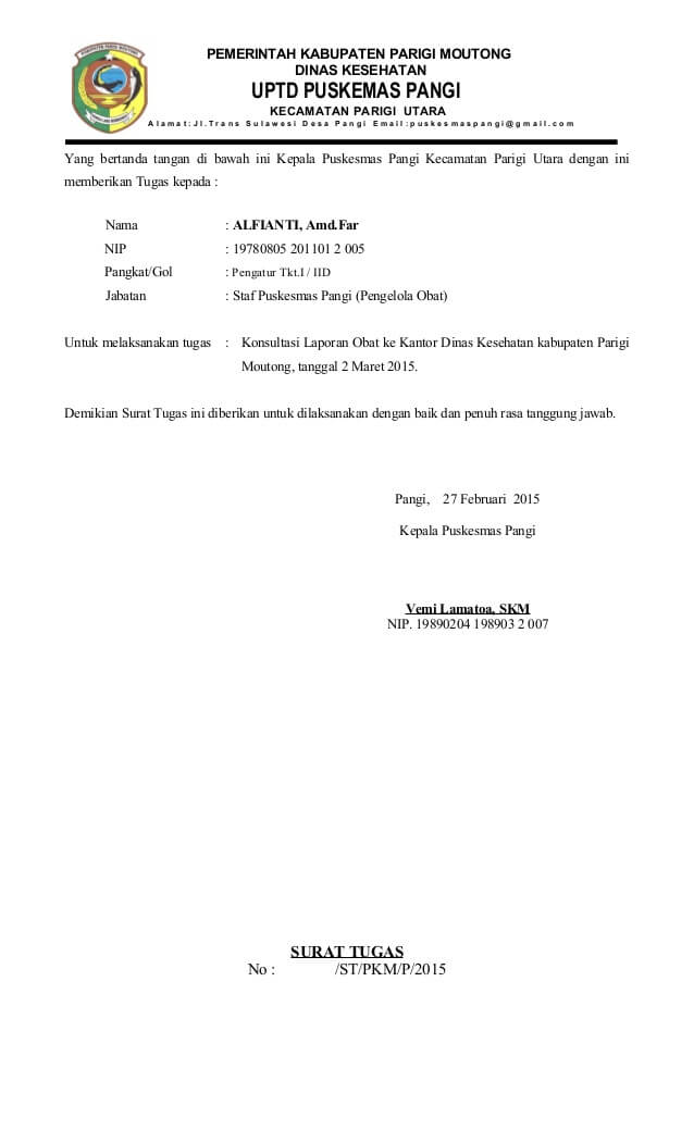 Contoh Surat Tugas Dinas
