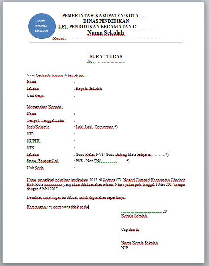 Contoh Surat Tugas Guru Pengganti Sementara