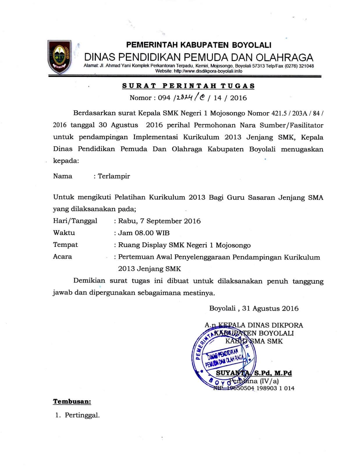 Contoh Surat Tugas Narasumber