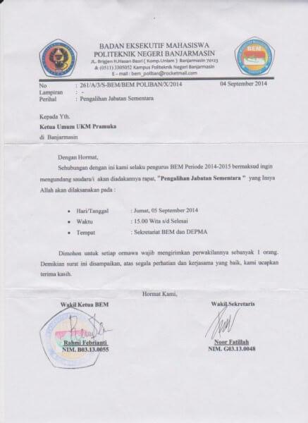 Contoh Surat Tugas Organisasi