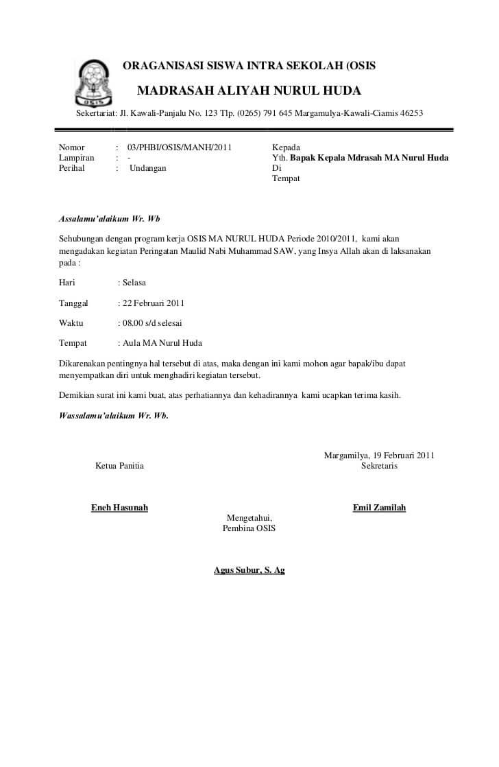 contoh surat dinas resmi osis