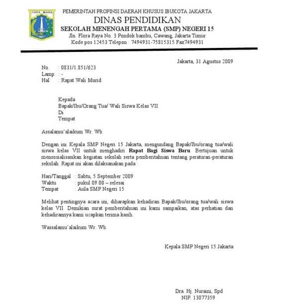 contoh surat dinas resmi sekolah smp