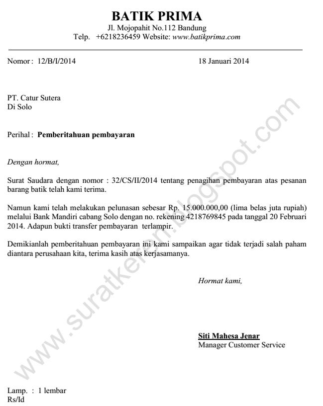 contoh surat pemberitahuan pembayaran