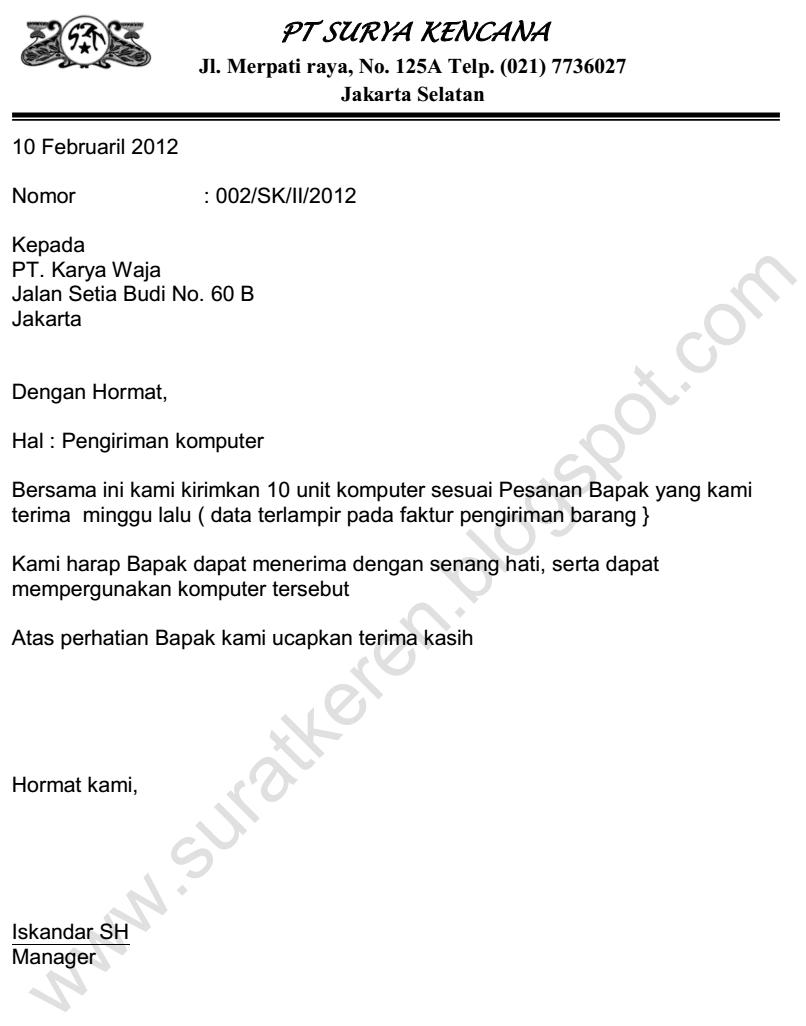 contoh surat pemberitahuan pengiriman barang