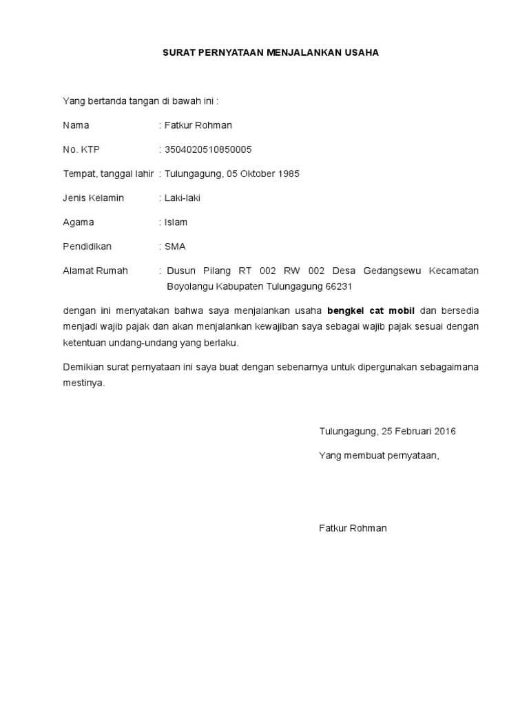 contoh surat pernyataan kegiatan usaha untuk npwp