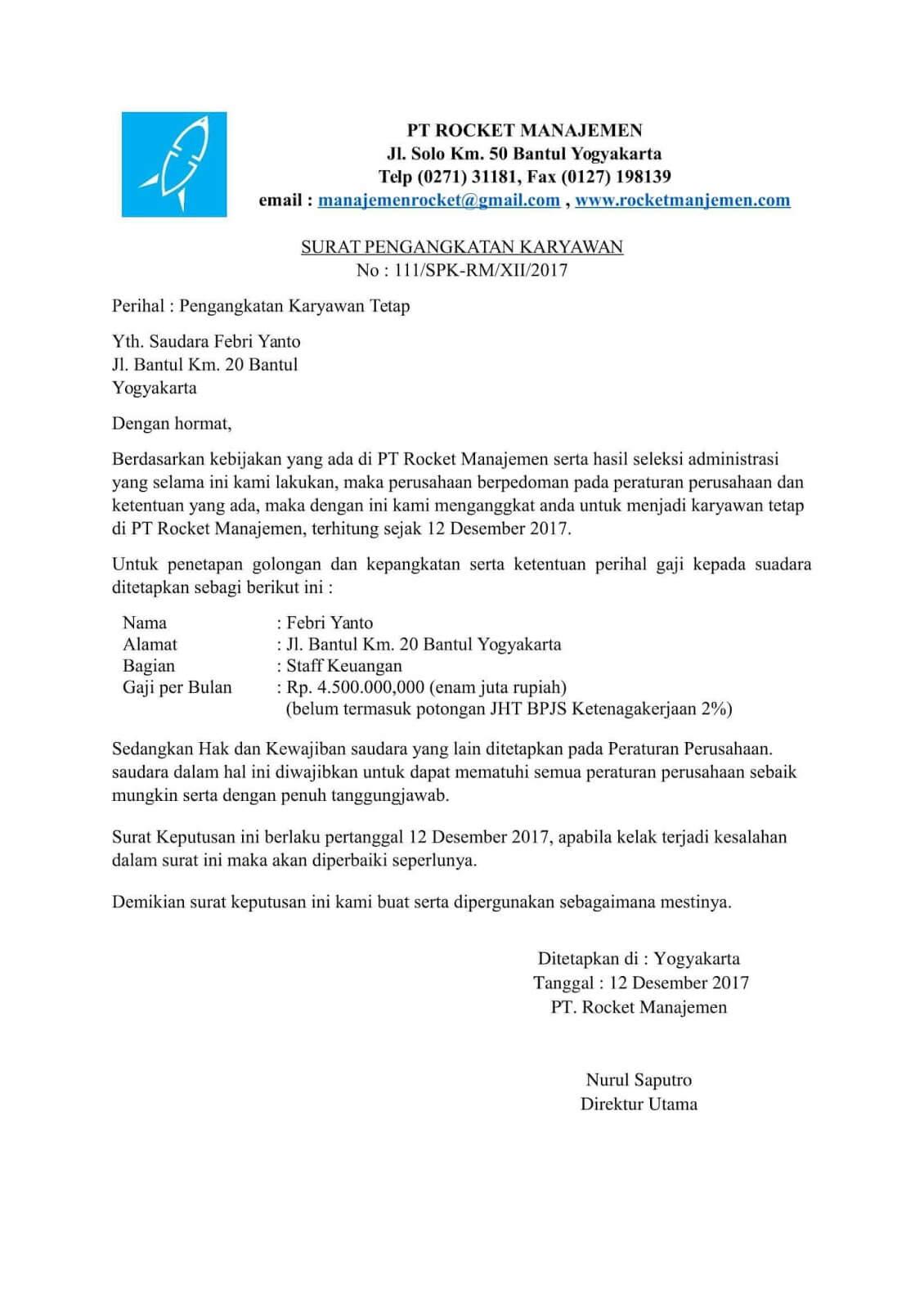 Surat Permohonan Aktif Bekerja - Contoh Press