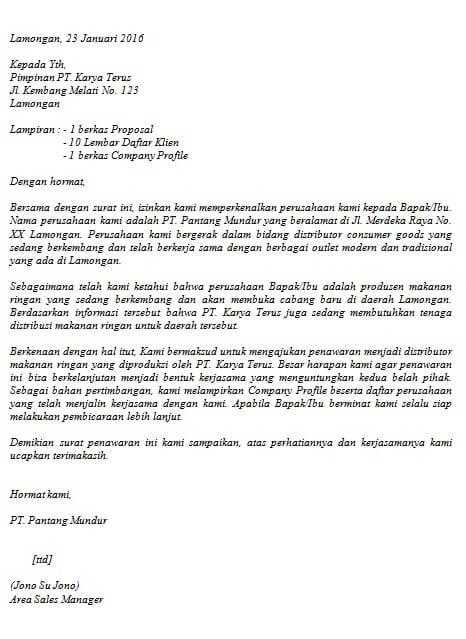 Contoh Surat Penawaran Barang Dan Harga Lengkap Contoh Surat