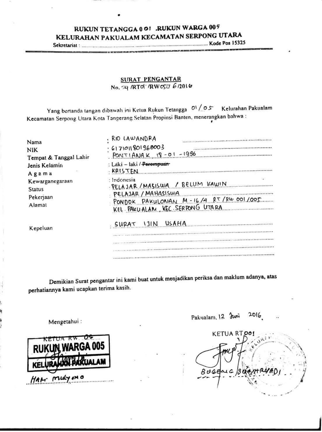 Contoh Surat Izin Usaha Dari Pemerintah Desa