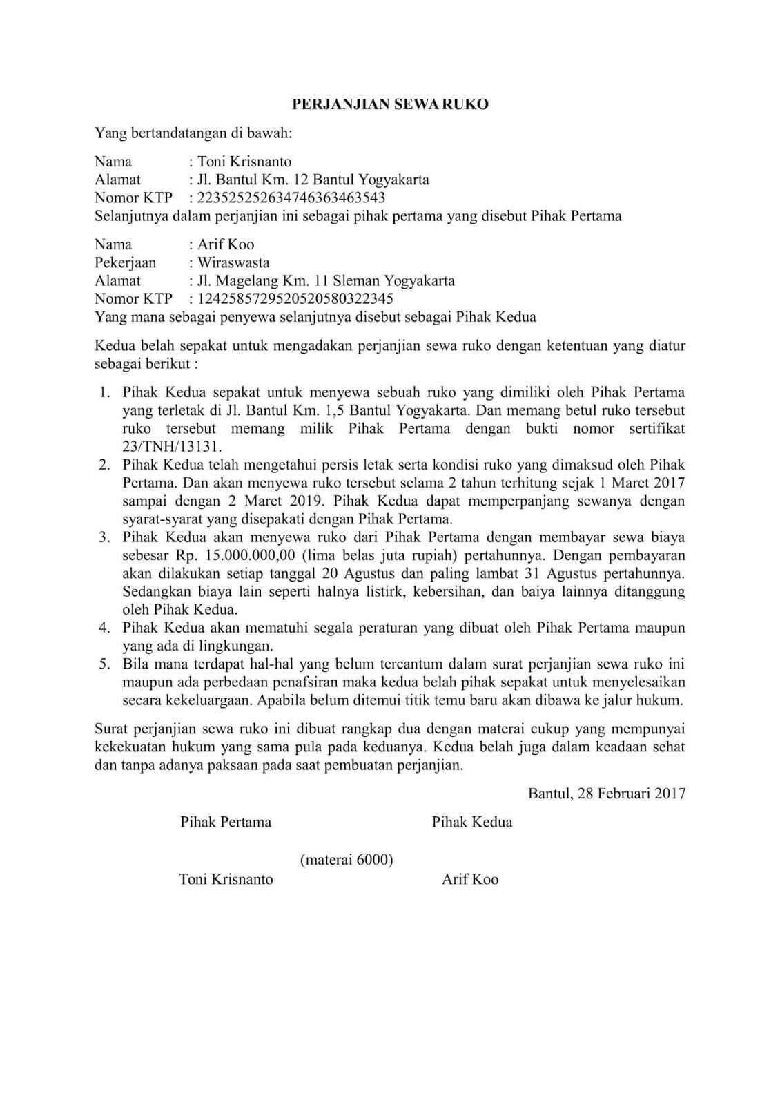 8 Contoh Surat Perjanjian Sewa Ruko Kios Di Pasar Tempat Usaha Pdf Docx Contoh Surat