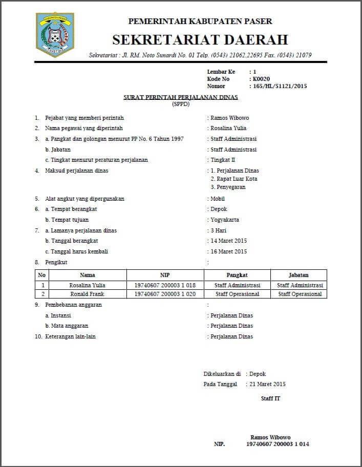 contoh surat tugasperjalanan dinas