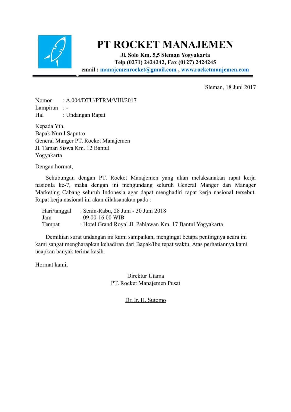 contoh surat undangan menghadiri acara