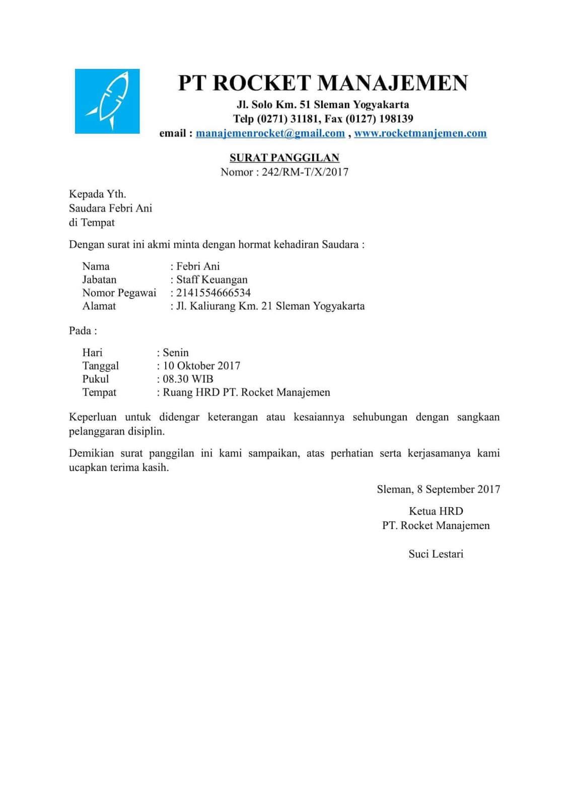 Contoh Surat Merumahkan Karyawan